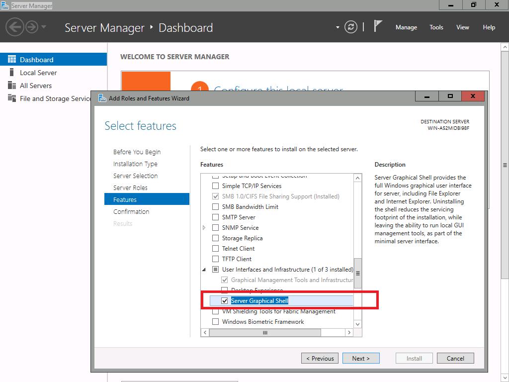 Windows Server 2016 Enable GUI