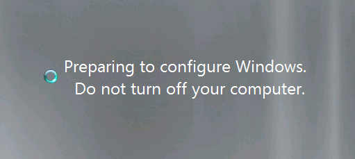 Preparing to Configure Windows. Do not turn off your computer.