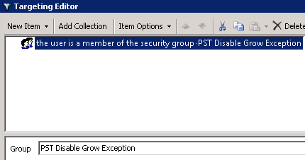 Disable PST Grow GPO - Registry - Targeting - Is a member - Common