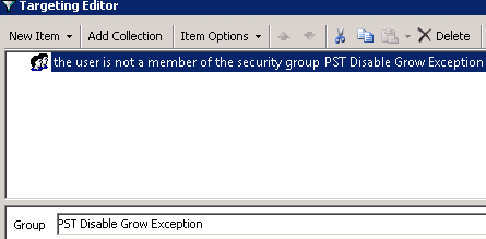 Disable PST Grow GPO - Registry - Targeting - Not a member - Common